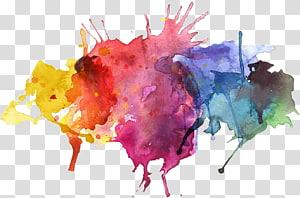 Lukisan cat air, percikan cat air, lukisan abstrak pink dan biru png