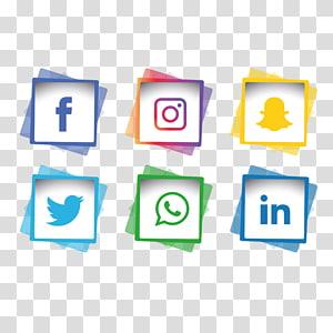 enam facebook, instagram, snapchat, twitter, whatsapp, dan linkedin logo, ikon komputer pemasaran media sosial, media sosial png