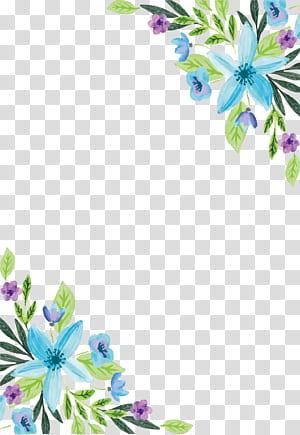 Lukisan cat air, Bunga desain bunga, Air warna biru perbatasan bunga, ilustrasi bunga petaled biru dan ungu png