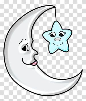 bulan sabit, Bulan, Bulan Imut dengan Bintang png