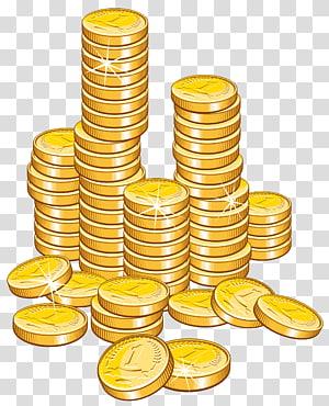 Koin Uang, Koin Stack, ilustrasi lot koin emas png