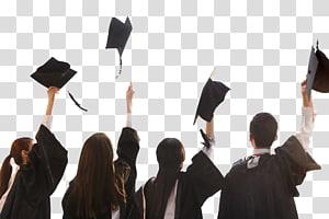 Upacara wisuda Gelar Magister Gaun akademik Gelar sarjana Topi, Lulusan dari layanan Master kehilangan topi Guru, tiga wanita dan satu pria mengenakan gaun kelulusan hitam png