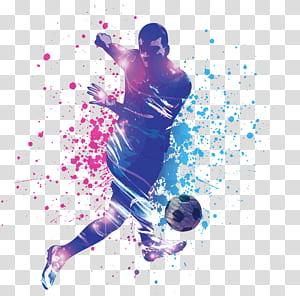 Pemain sepak bola, pertandingan sepak bola, ilustrasi menendang bola png