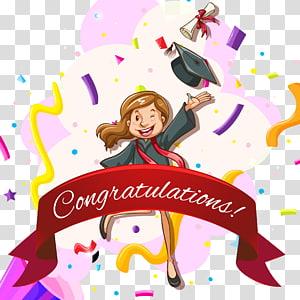 gadis mengenakan gaun akademik hitam dengan ilustrasi teks selamat, template Web Wisuda Euclidean, kartu ucapan selamat ulang tahun yang dilukis dengan Tangan kartun png