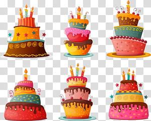 Kue Ulang Tahun Cupcake Kue coklat, kue ulang tahun kartun, ilustrasi enam kue png