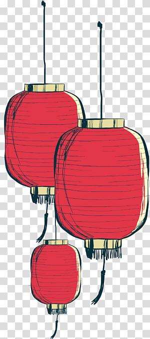 Lentera kertas, Lentera tangan Cina yang dilukis, tiga ornamen merah Cina png