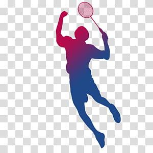 pria bermain ilustrasi bulu tangkis, Badminton BWF Kejuaraan Dunia Olahraga Shuttlecock Racket, Bermain siluet bulutangkis png