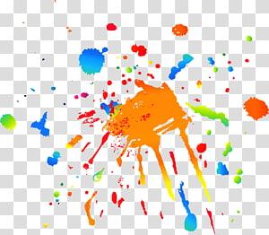 Percikan cat, ilustrasi percikan abstrak warna-warni png