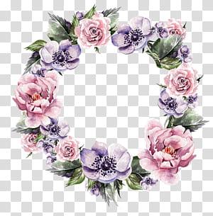 Bunga Karangan Bunga Undangan Pernikahan Lukisan Cat Air Karangan Bunga, karangan bunga yang dilukis dengan Tangan bunga, karangan bunga bunga ungu dan merah muda png
