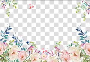 Bingkai dekoratif bunga, bunga merah muda dan putih png