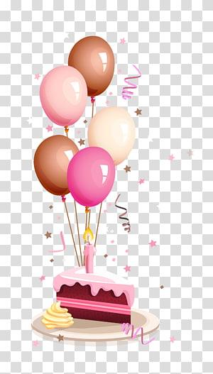 Selamat Ulang Tahun untuk Anda Berharap kartu ucapan, balon warna-warni dan kartun kue ulang tahun, sepotong kue dengan balon lt png