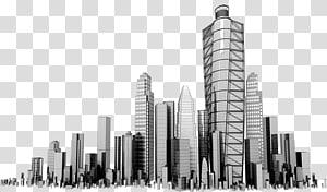 skala abu-abu dari gedung-gedung tinggi, Perusahaan Bisnis Gedung Pencakar Langit, Pencakar Langit PNG clipart