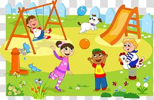 ilustrasi anak-anak bermain di taman bermain, Taman Bermain Anak, ilustrasi anak-anak bermain lucu kreatif png