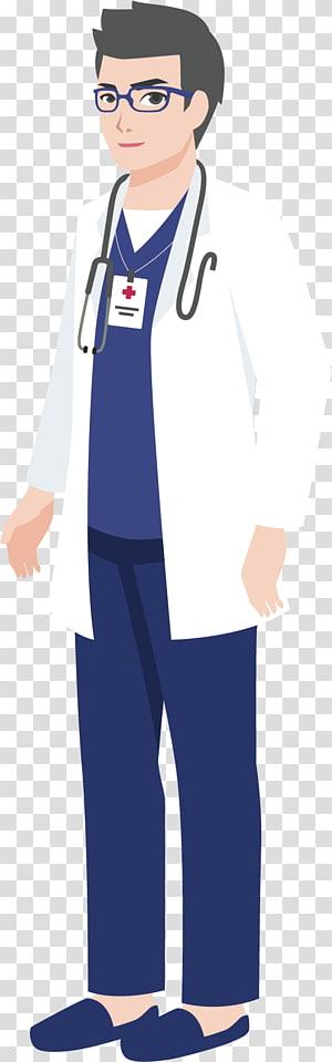 pria yang mengenakan atasan lengan panjang putih, celana biru, dan ilustrasi stetoskop, Ilustrasi Kartun Dokter, Dokter Universitas PNG clipart