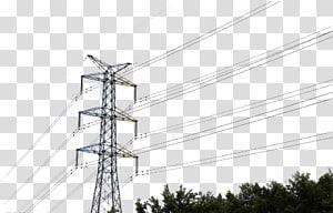 menara transmisi abu-abu di atas pohon, Menara transmisi Saluran listrik Overhead tegangan tinggi Kabel daya, Kawat tegangan tinggi png