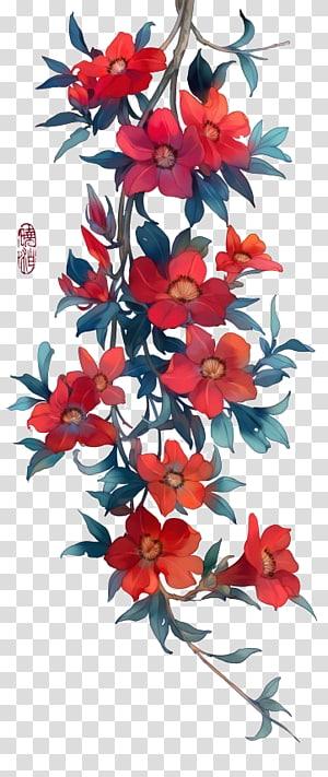 Ikon lukisan cat air, Ilustrasi cat air yang indah zaman dahulu, ilustrasi bunga kelopak merah png