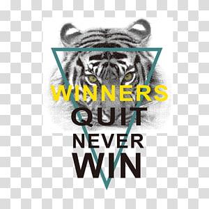 albino tiger dan pemenang berhenti tidak pernah memenangkan overlay teks, T-shirt Dicetak Lengan Top, T-shirt png