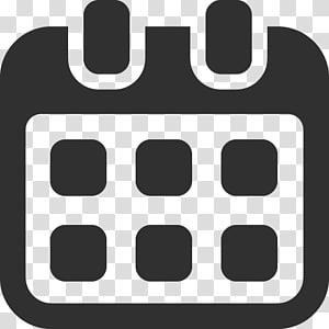 simbol teks monokrom, Kalender png