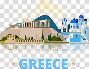 Ilustrasi Acropolis dan Kubah Biru di Yunani, Athena Santorini, Yunani Kuno, Perjalanan Yunani png