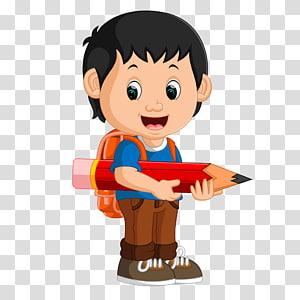 anak laki-laki berdiri memegang ilustrasi pensil berukuran besar, Sekolah Menggambar Siswa, Anak laki-laki dengan pensil PNG clipart
