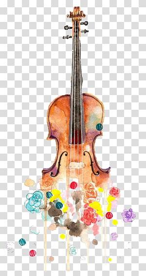 biola coklat dengan ilustrasi bunga, Biola Menggambar Lukisan Cat Air Musik Cello, biola png