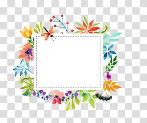 Bahan perbatasan bunga cat air, ilustrasi bingkai bunga persegi panjang warna-warni png