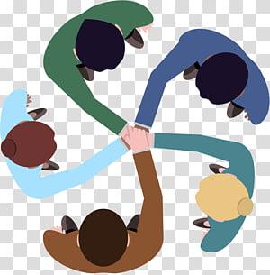 Logo Teamwork, kerja tim, ilustrasi kelompok lima orang PNG clipart