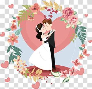 Undangan pernikahan Pusat Pernikahan Pengantin, Poster dekorasi pernikahan, ilustrasi pengantin pria dan wanita png