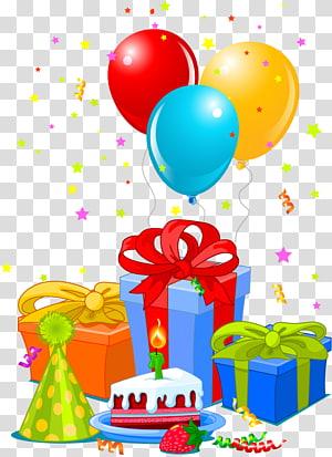 balon kuning, merah, dan biru, Kue ulang tahun Selamat Ulang Tahun untuk Anda Kebahagiaan, hadiah dan balon ulang tahun png