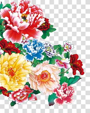 merah, biru, dan kuning bunga petaled, peony Moutan, Peony png