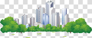 ilustrasi bangunan tinggi dan pohon, Bangunan Apartemen Real Estate di Pingtan County PNG clipart