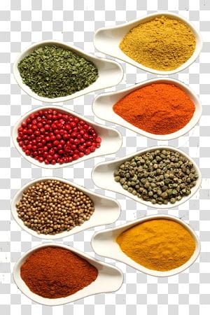 berbagai macam kacang-kacangan dan bubuk dalam mangkuk banyak, Garam masala Makanan bumbu campuran, Bahan bumbu png