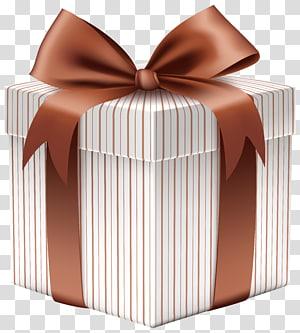 kotak hadiah putih dan coklat, Kertas hadiah Natal, Kotak Hadiah dengan Busur Coklat png