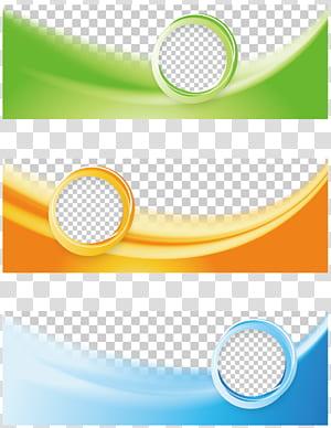 Spanduk web Flyer, Tricolor Business Banner, kolase bingkai hijau, oranye, dan biru png