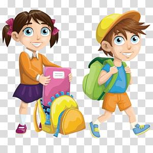 Euclidean sekolah, anak sekolah yang bahagia, anak perempuan dan laki-laki pergi ke sekolah karakter kartun png