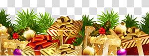 kotak hadiah coklat dan merah, dekorasi Natal ornamen Natal, Dekorasi Natal dengan Hadiah png