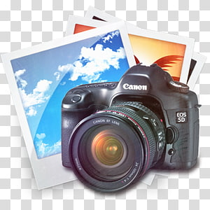 hitam Canon EOS 5D kamera di samping, ICO Camera Icon, kamera SLR png