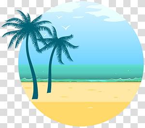 Liburan Musim Panas Liburan Euclidean, Dekorasi Laut Musim Panas, dua ilustrasi pohon kelapa PNG clipart