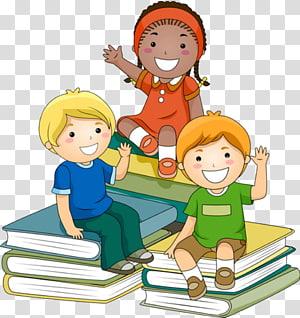 tiga karakter duduk di tumpukan buku, Guru Belajar Anak, Tiga anak png