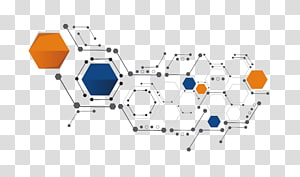 ilustrasi segi enam oranye, putih, dan biru, Bentuk Hexagon, Bentuk sains dan teknologi PNG clipart