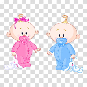 dua bayi memegang ilustrasi mainan mewah, Bayi Laki-Laki Perempuan, Kartun Bayi PNG clipart