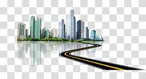 ilustrasi bangunan beton kelabu, gedung tinggi, Smart City, kota, Gedung tinggi, gedung, jalan raya PNG clipart