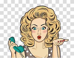 Gadis cantik Komik Pop art Perempuan, Kartun rambut, panggilan kecantikan rambut, wanita memegang ilustrasi telepon hijau png