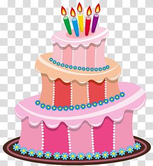 Kue ulang tahun, Kue Ulang Tahun Merah Muda, ilustrasi kue ulang tahun berwarna pink dan beraneka warna png