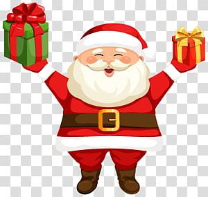 Santa Claus Rudolph, Santa Claus dengan Hadiah, ilustrasi Santa Claus png