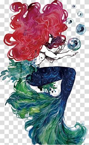 seni abstrak putri duyung, Ariel The Little Mermaid Illustration, putri duyung png