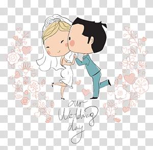 Undangan pernikahan Ilustrasi Bridegroom, Karakter kartun pernikahan, ilustrasi pengantin PNG clipart
