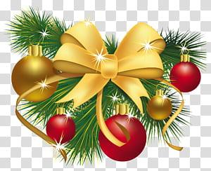 Dekorasi Natal, Hadiah Natal, Dekorasi Natal, pernak-pernik emas, biru, dan hijau dan aksen karya seni digital png