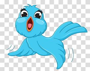 Bird, Blue Bird Cartoon, ilustrasi burung biru png