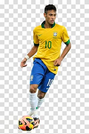 Neymar 2014 FIFA World Football Brazil Sport Football, Neymar Brazil, pria yang mengenakan kaos Nike 10 kuning dan hijau png